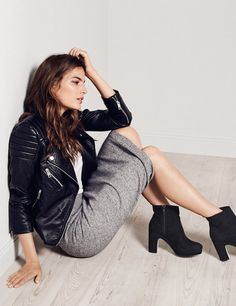 Dustjacket attic // Cameron Russell H&M 2015 // leather jacket and ankle boots casual style