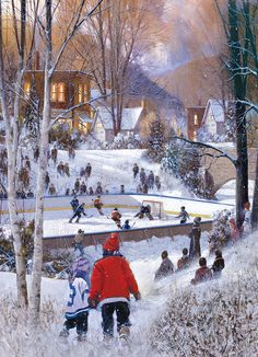 Piece Count 1000 Pieces Puzzle Size x x cm) Age Theme Sports / Hockey / Winter / Snow Manufacturer Eurographics UPC 628136606882 Winter Painting, Winter Art, Winter Snow, Hockey Drawing, Peace Painting, Outdoor Skating, Hockey Season, Winter Scenery, Christmas Pictures
