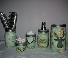 Items similar to Hand-Painted Mason Jar Bathroom Set - Theme Customizable - Includes Large Candleholder, Soap Dispenser, 1 Med Storage Jar, & 2 Small Jars on Etsy Mason Jar Gifts, Mason Jar Diy, Wine Bottle Crafts, Jar Crafts, Mason Jar Bathroom, Mason Jar Projects, Jar Centerpieces, Ball Jars, Painted Mason Jars