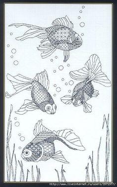 Blackwork Goldfish 5 of 5 Motifs Blackwork, Blackwork Cross Stitch, Blackwork Embroidery, Cross Stitching, Cross Stitch Embroidery, Embroidery Patterns, Hand Embroidery, Cross Stitch Designs, Cross Stitch Patterns