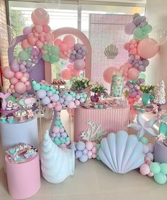 Birthday Goals, Birthday Party For Teens, Unicorn Birthday Parties, 4th Birthday, Mermaid Theme Birthday, Birthday Balloon Decorations, Butterfly Baby Shower, Little Mermaid Parties, Babyshower