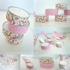 Pin by Majdouline Ebn faraj on Diy candles in 2020 (With images) Tin Can Crafts, Tape Crafts, Diy And Crafts, Diy Candles, Shower Favors, Beltane, Communion, Homemade Gifts, Washi Tape