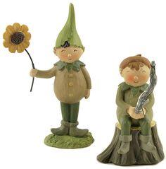 2 Piece Boy Fairies With Sunflower Pole Figurine Set