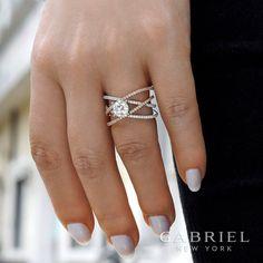 14k White/Rose Gold Round Nova Diamond Engagement Ring