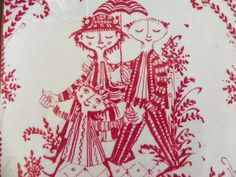 Vintage Nymolle Bjorn Wiinblad Red Family Ceramic Tile Trivet
