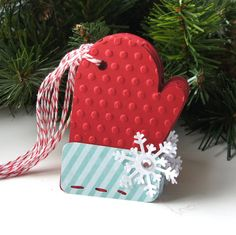 Mitten Christmas Tags with Snowflake Qty. 6 . Red & by scrapbits, $4.50