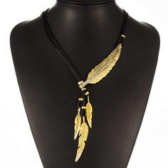 Bohemian Style Black Rope Chain Feather Pattern Pendant
