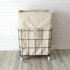 キャスター付きワイヤーバスケット(64120)かご収納収納かごランドリーバスケット洗濯かご洗濯物入れ脱衣かご巾着収納