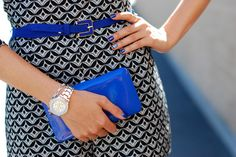 very cute look. love the combination of blue, white and black. belt is amazing!