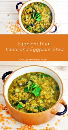 Even if you're not a big fan of Indian food, you will absolutely love this eggplant dhal recipe! It's easy to make, budget-friendly and perfect for a family dinner! | http://gourmandelle.com/eggplant-dhal/