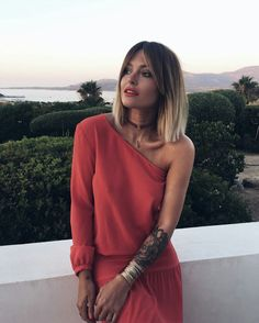 Stunning Caroline Receveur with one shoulder summer dress. #carolinereceveur #summer #lorealista #fabfashionfix
