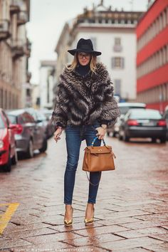 Love this look for winter. gold pumps and hermes bag