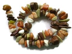 18 CENTS PER INCH   Natural Stone - Multicolor - Chip - Full Strand - about 16.5""