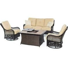 Make your outdoor living space cozy with the Hanover Orleans 4 Piece Wicker Fire Pit Conversation Set . This deep-seating set includes two cushioned. Fire Pit Coffee Table, Fire Pit Seating, Fire Pit Patio, Outdoor Lounge, Outdoor Seating, Outdoor Retreat, Outdoor Living, Outdoor Sofas, Outdoor Fire