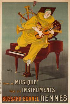 1920s Bossard Bonnel musical instruments vintage advert poster France