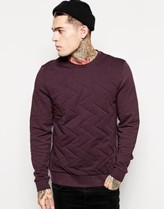 ASOS Sweatshirt With Zig Zag Quilting
