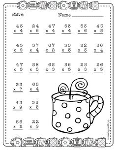 Need extra practice with multiplication? This set includes 10 pages of 2 digit by 1 digit multiplication with regrouping practice. An answer key for each page is included. 2nd Grade Math Worksheets, Printable Math Worksheets, School Worksheets, 4th Grade Math, Math Math, Math Games, Two Digit Multiplication, Multiplication Worksheets, Math Drills