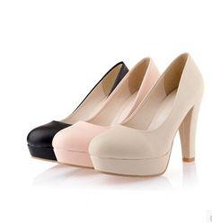 Nuevo 2016 mujeres de primavera otoño Chunky grueso del talón bombas tacones altos ronda del dedo del pie suave básico de oficina escogen los zapatos para mujer de la plataforma