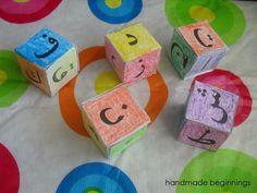 handmade beginnings: Arabic Alphabet Blocks Teaching The Alphabet, Alphabet Activities, Preschool Activities, Learning Arabic, Kids Learning, Arabic Alphabet For Kids, Learn Arabic Online, Montessori, Teacher Freebies