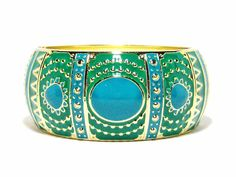The Pia Deco Cuff Bracelet in Turquoise and Teal with a hinged opening and in a classic shape is très chic! Teal Art, Gold Art, Bangle Bracelets, Bangles, For You Blue, Enamel Jewelry, Blue Green, Art Deco, Turquoise