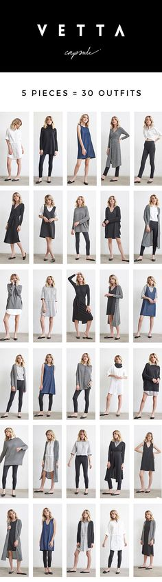 5 pieces = 30 outfits | made in USA from sustainable fabrics | www.vettacapsule.com #capsule #sustainablefashion #capsulewardrobe #madeinusa #oversizedsweater #dustercardigan #pontepants #shirtdress #jumper #reversible #convertible 30 Outfits, Cute Outfits, Slow Fashion, Ethical Fashion, Wardrobe Color Guide, Sustainable Fashion, Sustainable Fabrics, Polished Casual, Outfits Kombinieren