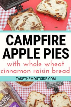 Yummy Campfire Apple Pie with a Twist Looking for a new hobo pie recipe? Try using cinnamon raisin bread with your apple pie filling in your pie iron next time! These campfire apple pies are sure to please kids and adults alike! Campfire Pies, Easy Campfire Meals, Camping Meals, Camping Hacks, Backpacking Food, Camping Cooking, Camping Stuff, Outdoor Cooking, Camping Recipes Lunch