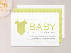 "Chevron Onsie Modern Baby Shower Invitation - Printed 5"" x 7"" Invitation & Envelope - CUSTOMIZE Colors and Content"