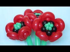 Цветок мак из шаров / Poppy flower of twisting balloons - YouTube