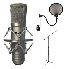 CAD Audio GXL2200 Cardioid Condenser Microphone with CAD Audio Microphone Pop Filter and Tripod Boom Microphone Stand CAD
