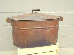 Antique Double Copper Wash Tub Boiler w/ Lid - Primitive Rustic Decor - Vintage Storage
