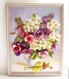 Купить Картина лентами Виола, жасмин и земляника 40 х 30 см