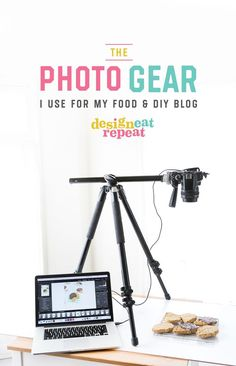 Melissa at Design Eat Repeat, where she shows her at home photo setup and gear. Everything from cameras, backdrops, and editing software. Very helpful post! Food Photography Props, Photography Camera, Photography Equipment, Photography Business, Digital Photography, Photography Tips, Beginner Photography, Landscape Photography, Portrait Photography