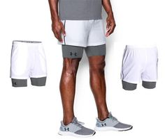 Under Armour Mens UA Mirage 2-in-1 Training White Gray 2XL Shorts 1271948-100 #Underarmour #Shorts