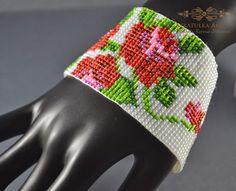 Tkana na krośnie - Róża | Szkatułka Ami - Biżuteria ręcznie tworzona