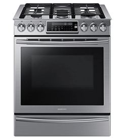 Best Gas Ranges no. Samsung Slide-In Gas Range. For those who love to cook and don't want to be hamstrung by an ordinary cooktop or oven, though, this Samsung beauty is the best gas range you can find. Smart Kitchen, Kitchen Stove, Kitchen Appliances, Kitchen Redo, Kitchen Ranges, Kitchen Cabinets, Kitchen Makeovers, Cooking Appliances, Kitchen Board