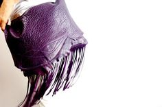 FRINGED CROSS-BODY Bag Eggplant Color Sheepskin by NeroliHandbags