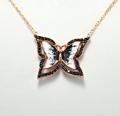 Items similar to Cz Black 925 Rose Gold Silver Blue Butterfly Simple Necklace Elegant Necklace ,Cute Butterfly Pendant, Cat's Eye and CZ Butterfly Necklace on Etsy Butterfly Pendant, Butterfly Necklace, Fashion Necklace, Fashion Jewelry, Cute Butterfly, Simple Necklace, Silver Necklaces, Handmade Silver, Crystal Jewelry