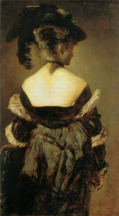 Lady with Feather Hat from Behind by Hans Makart, 1840-1884