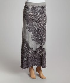 Look what I found on #zulily! Casa Lee Gray Brocade Maxi Skirt by Casa Lee #zulilyfinds