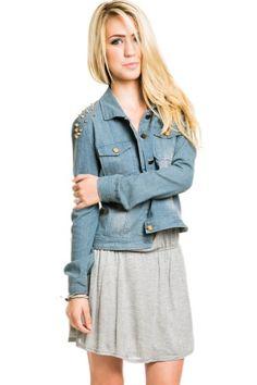 TOPSELLER! Studded Shoulder Jean Jacket in Denim... $16.00