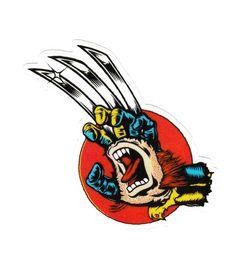 Santa Cruz Wolverine Screaming Hand , 12 x cm decal sticker Santa Cruz Stickers, Santa Cruz Logo, Skateboard Logo, Old School Skateboards, Skate And Destroy, Clown Faces, Hand Logo, Cool Stickers, Surf Art