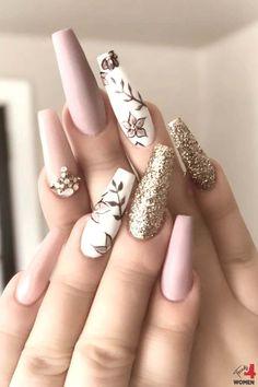 Summer Acrylic Nails, Best Acrylic Nails, Acrylic Nail Designs, Fancy Nails Designs, Stylish Nails, Classy Nails, Elegant Nails, Nail Patterns, Pattern Nails