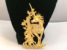 VTG. JJ JONETTE LARGE RARE HOLD TONE MAGICAL UNICORN HORSE/TREE BROOCH~  | eBay