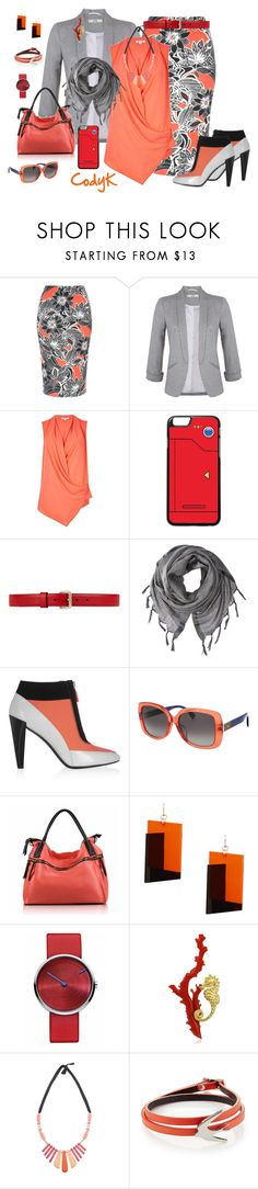 """Gray, Coral, Black, White"" by cody-k ❤ liked on Polyvore featuring Miss Selfridge, River Island, Gucci, Love Quotes Scarves, Kenzo, Fendi, MANGO, Jacob Jensen and McQ by Alexander McQueen"