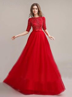 Popular Half Sleeves Beaded Bowknot Floor Length Prom Dress Popular Prom Dresses- ericdress.com 11050020