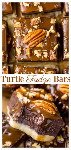 These Salted Caramel Turtle Fudge Bars are crunchy, creamy, and chewy! And the best part is they're so easy to make. These Salted Caramel Turtle Fudge Bars are crunchy, creamy, and chewy! And the best part is they're so easy to make. Candy Recipes, Brownie Recipes, Sweet Recipes, Baking Recipes, Cookie Recipes, Bar Recipes, Best Dessert Recipes, Turtle Bars, Turtle Cookie Bars