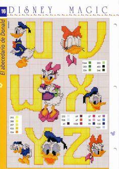 Vejam que fofos, estes alfabetos com a turma da Disney. Pato Donald eMargarida: Mickey e Minie: