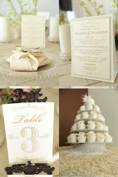 Cupcake display. Ivory and gold.