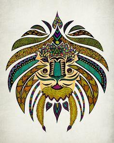 Emperor Tribal Lion Art Print by Pom Graphic Design   Society6