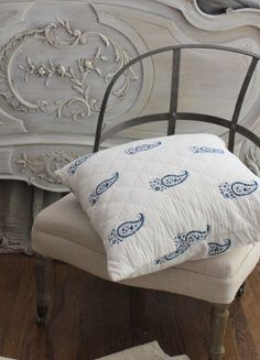 "Trouvais Les Indiennes quilted pillow, Restoration Hardware ""couturier"" chair"
